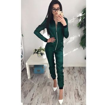 Long Sleeve Casual Hoodies Sexy Zipper Jacket One Piece Workout Sweatshirts Women Harajuku Tracksuits Moletom Feminino WS843M