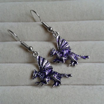 purple glitter silvertone dragon  dangle earrings