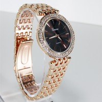 Rose Gold Geneva Chocolate Watch Crystal Bezel Women's Fashion Bracelet