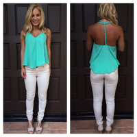Mint Flower Strap T-Back Tank