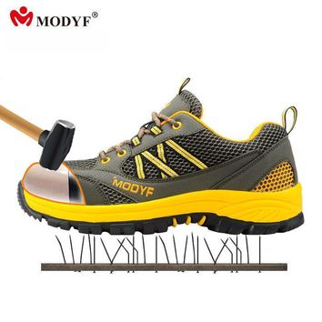 modyf men steel toe cap work safety shoes casual mesh breathable outdoor boots punctur  number 1