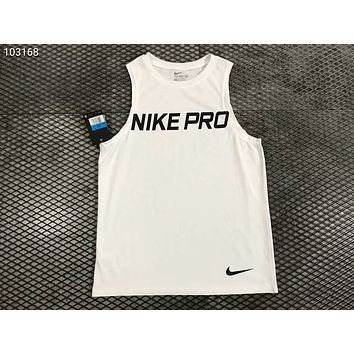 NIKE breathable and quick-drying basketball vest sports training sleeveless T-shirt F-AG-CLWM White