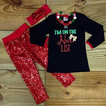 """ I'm On The Nice List"" Christmas Outfit"