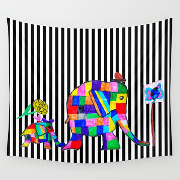 Elephant Festival |Family Walk | #society6 Wall Tapestry by Azima