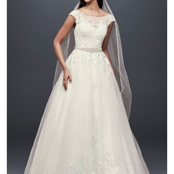 Tulle and Lace Cap Sleeve A-Line Wedding Dress | David's Bridal