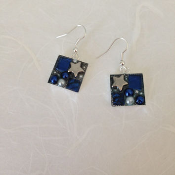 Mosaic stained glass earrings ultramarine blue Van gogh tiles, cobalt blue stained glass, blue and silver glass pearl beads star silver bead