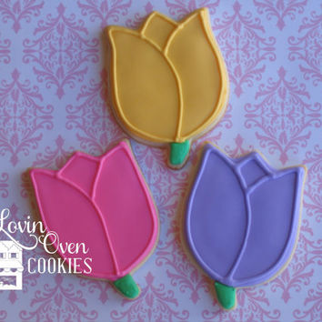 1 Dozen Tulip / Flower Decorated Sugar Cookies