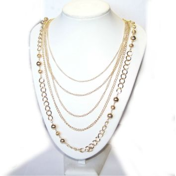 Long Gold Chain Necklace - Multi Strand Chain Swag
