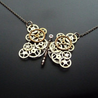RESERVED LISTING Clockwork Necklace Butterfly by amechanicalmind