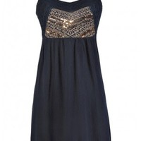 Free-Spirited Glamour Sequin and Embroidered Dress in Navy