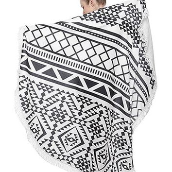Black and White Heavy Terry Round Beach Towels with Deluxe Trim