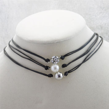 High Quality Freshwater Pearl and Genuine AA Leather Necklace