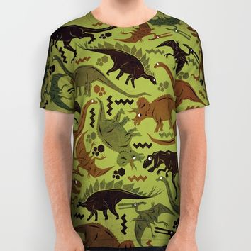 Camouflage Dinosaur Geometric Pattern All Over Print Shirt by Chobopop