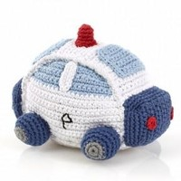 Police Car Fair Trade Knitted Baby Rattle