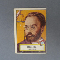 1952 TOPPS Look 'n See Emile Zola, Card No 121, Famous Writers Series