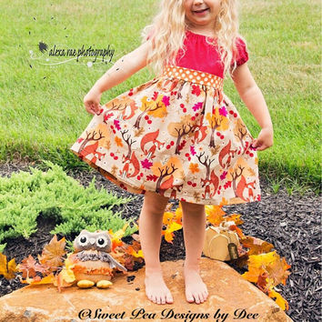 Fall fox dress, Thanksgiving leaves, berries, trees, peasant style,woodland dress, baby, burgundy, polka dots, toddler dress, girls dress
