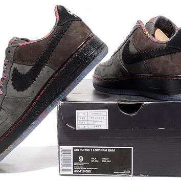 auguau Nike Air Force 1 BHM Brown For Women Men Running Sport Casual Shoes Sneakers