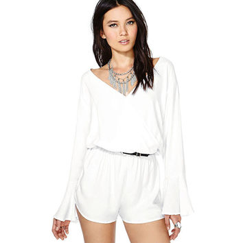 White V-Neck Trumpet Sleeves Loose Chiffon Jumpsuit