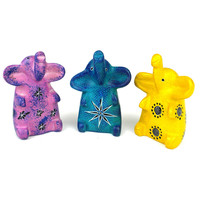 Set of 3 Mini Handcrafted Soapstone Sitting Elephants - Smolart