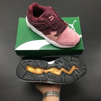 """Puma """"Shark"""" Red /Pink Suede Leather  Sneakers"""