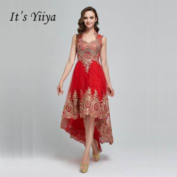 It's YiiYa Red Crystal High-low Tulle Illusion Backless Zipper Formal Knee Length Dress Party Full Dress Vintage Porm Gown F003