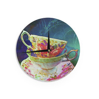 """alyZen Moonshadow """"Mad Hatters T-Party V"""" Yellow Green Wall Clock"""