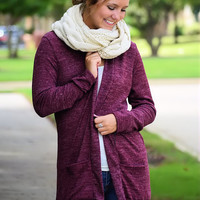 Traveling Companion Cardigan-Burgundy