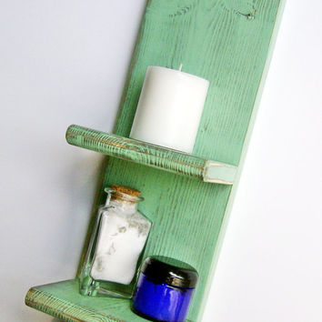 Bathroom Decor - Accessory, GREEN  Wall Shelf, Shabby Chic Distressed Cottage Decor