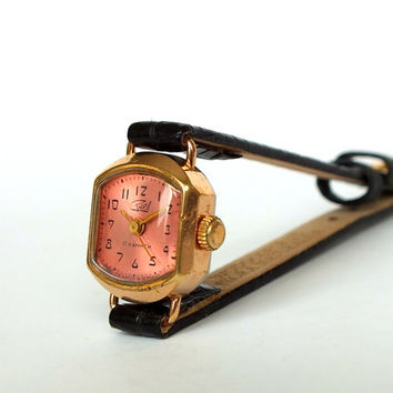 Pink Dial Womens Watch Zaria. Vintage Gold Plated Ladies Watch 60s. Very Small Mechanical Wrist Watch For Women. Retro Watch. Gift For Her