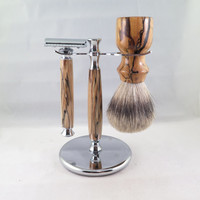 Spalted Maple Shaving Set. You Choose! DE Safety Razor, Fusion, or Mach 3.