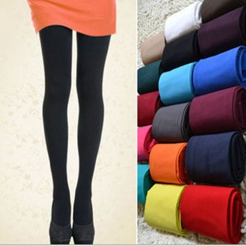 100% Brand New Hot Sell Women's Sexy Footed Thick Opaque Stockings Pantyhose Solid Color Tights