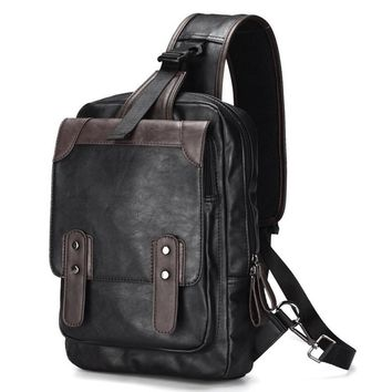 Leisure Chest Backpack Men Satchel Bag Sling Waterproof PU leather Back Pack Man Crossbody Shoulder Bag One Strap Knapsack Bolso