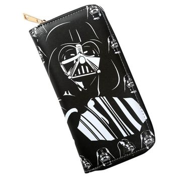 Star Wars Force Episode 1 2 3 4 5 Cartoon  Darth Vader Long Zip Wallet Men cash card wallet long zipper purse hold handbag AT_72_6