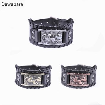 Dawapara Viking Fox Irish Knot Punk Leather Women/Man's Wrist Jewlery Mens Cuff Bracelet Bangle Wristband