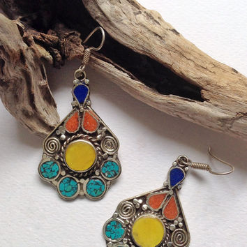 Nepal, Tibetan style , multicolor, tribal ethnic, boho earrings