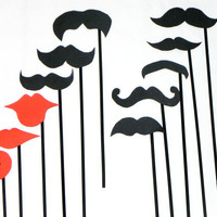 Mustache Lips On A Stick Wedding Photo Booth by IncrediblyHip