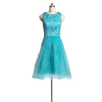 Short Lace Prom Dress In Turquoise Sleeveless Semi Formal Party Dress for Teens  Custom Size
