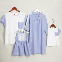 Stripes Lace Patchwork Family Outfits