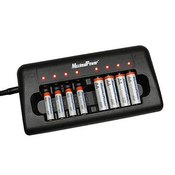 MaximalPower 8-Port Ultra Fast Smart Charger + 4x Rechargeable AA / AAA Batteries Combo Kit