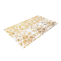 "KESS Original ""Baroque Gold"" Abstract Floral Woven Area Rug"