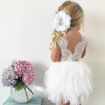 Baby Girls Party Frocks Dress Lace Cake Layered Dresses Wedding Birthday Children Princess Party Gown Tutu Fluffy Kids Clothes