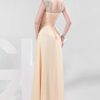 Sequins Beaded Straps Bodice Pleated Long Evening Dress