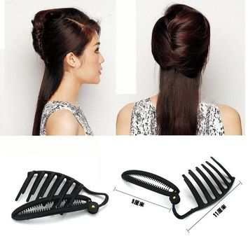 YouMap Women DIY Formal Hair Styling Updo Bun Comb And Clip Tool Set For Hair French Twist Maker Holder Y3R2