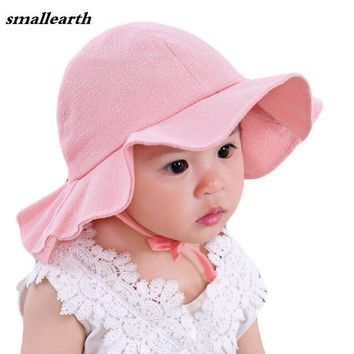 Summer Baby Sun Hat Baby Girl Basin Hat Summer Caps Cotton Bucket Cap Child Solid Color Sun Cap Boys Girls Large Brim Beach Hats