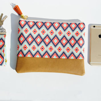 TRIBAL LEATHER CLUTCH, coral and mint bag, everyday casual clutch, leather accent pouch, iPad sleeve, kindle case