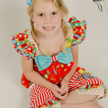 "Girls Circus Theme 2 Piece/Fun, Bright, Colorful Perfect for Back to School/Oversized Bow~Buttons~Ruffles~Ribbons~features""Toy in my Pocket"""