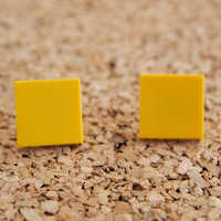 Square Lego Studs - yellow orange unisex mens womens ladies girls kids toy retro post earrings FREE Shipping to United States