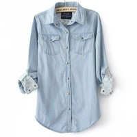 Denim Shirt With Floral Print from Tulita