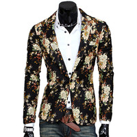 New Design Mens Blazer Floral Suit Personality Casual Blazer For Men Blazer Slim Fit Jacket Fashion 2016 TOPS COAT