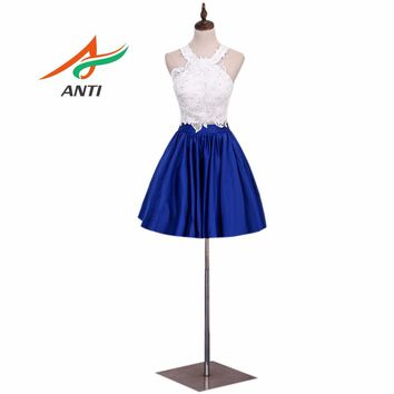 ANTI High Quality Blue Two Pieces Junior High Graduation Dresses 2017 White And Blue Crystal Homecoming Dress Short Party Dress